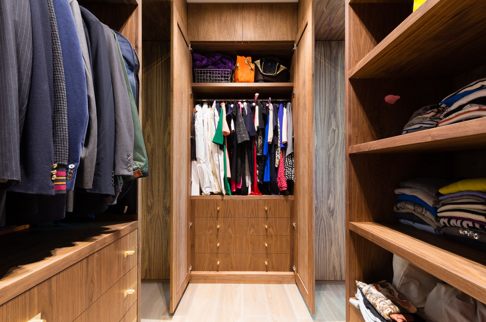 Bespoke walk in wardrobe - Warwick avenue dressing room veneered drawer fronts