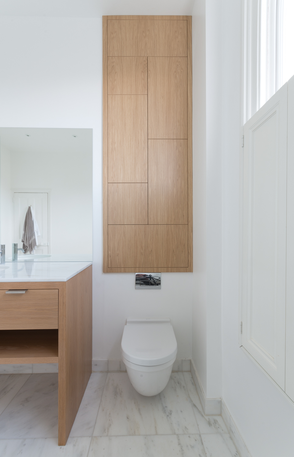 Front view of our bespoke fitted bathroom cabinet and unit.