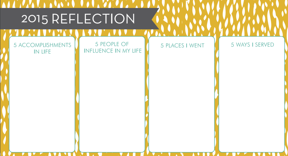 "Some of the categories for the ""reflect"" portion of the worksheets."