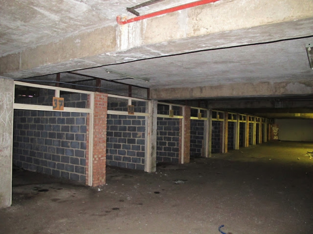 Former, unused, ground floor garages at Vulcan Way