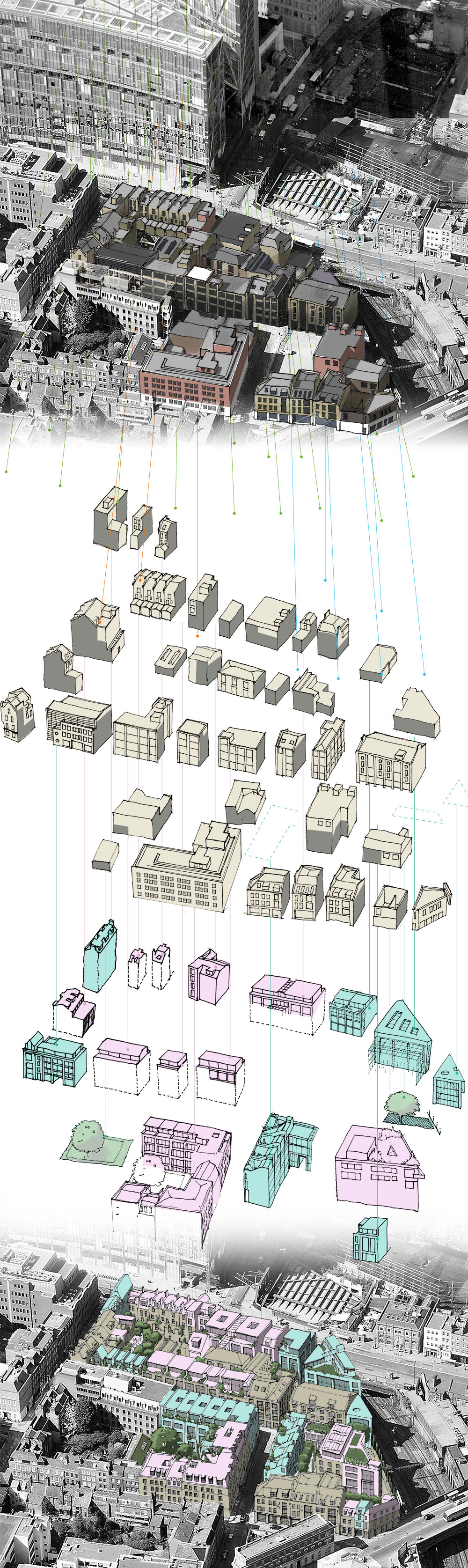 BFF's proposals show the capacity for development on vacant sites and additions to existing buildings (existing buildings shown in beige and new development in green and pink)