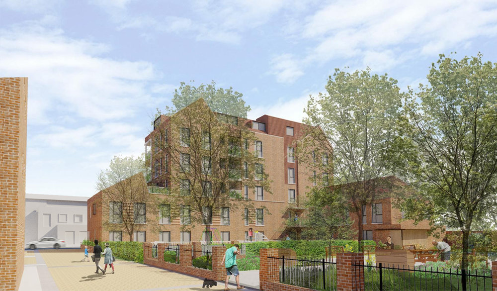 The rear of the proposed new block, with the enlarged resident's garden and new play area in the foreground.