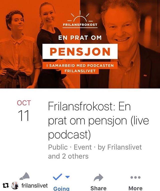 """Kom på «frilansfrokost»!! Vi vil treffe dere!! ☕️ 11. oktober arrangerer vi vår første """"live event"""" 😎 Noen vil kanskje si #pensjon er for spesielt interesserte, men vi skal alle bli gamle, også vi frilansere, og hva skjer da??? 🙈  Hva kan du forvente deg å rutte med når du er pensjonert frilanser? Hvordan fungerer egentlig dette med pensjon når du er #frilanser? Hvordan bør du spare, og hva er egentlig #minstepensjon? Bli med på live podcast på Spaces i Oslo!  Vi intervjuer pensjonsekspert Knut Dyre Haug. Vi serverer gratis kaffe og yoghurt-buffet.☕️☕️ Og du kan stille spm mot slutten! KOM!!! #frilanslivet"""