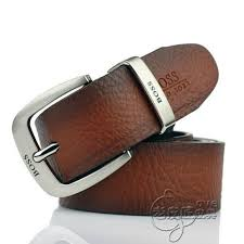 The brown leather belt.