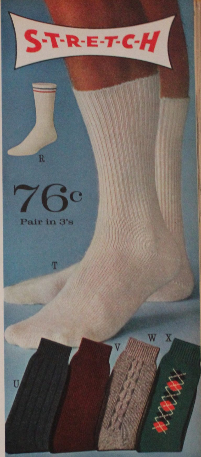 1961 The everyday white sock that we all have come to love was introduced.