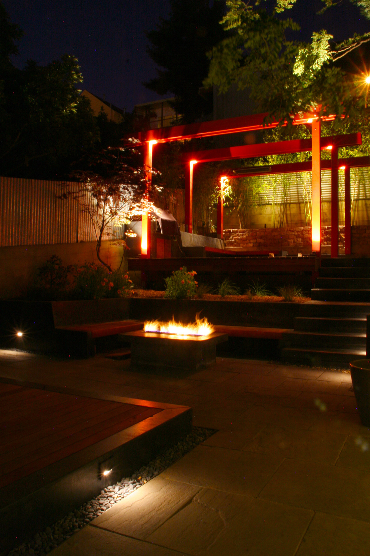Bernal Heights Pocket Garden at night. San Francisco CA