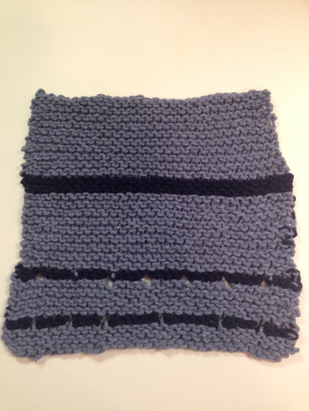 I started this random dishcloth (what were those eyelets all about??) last spring. Finished!!