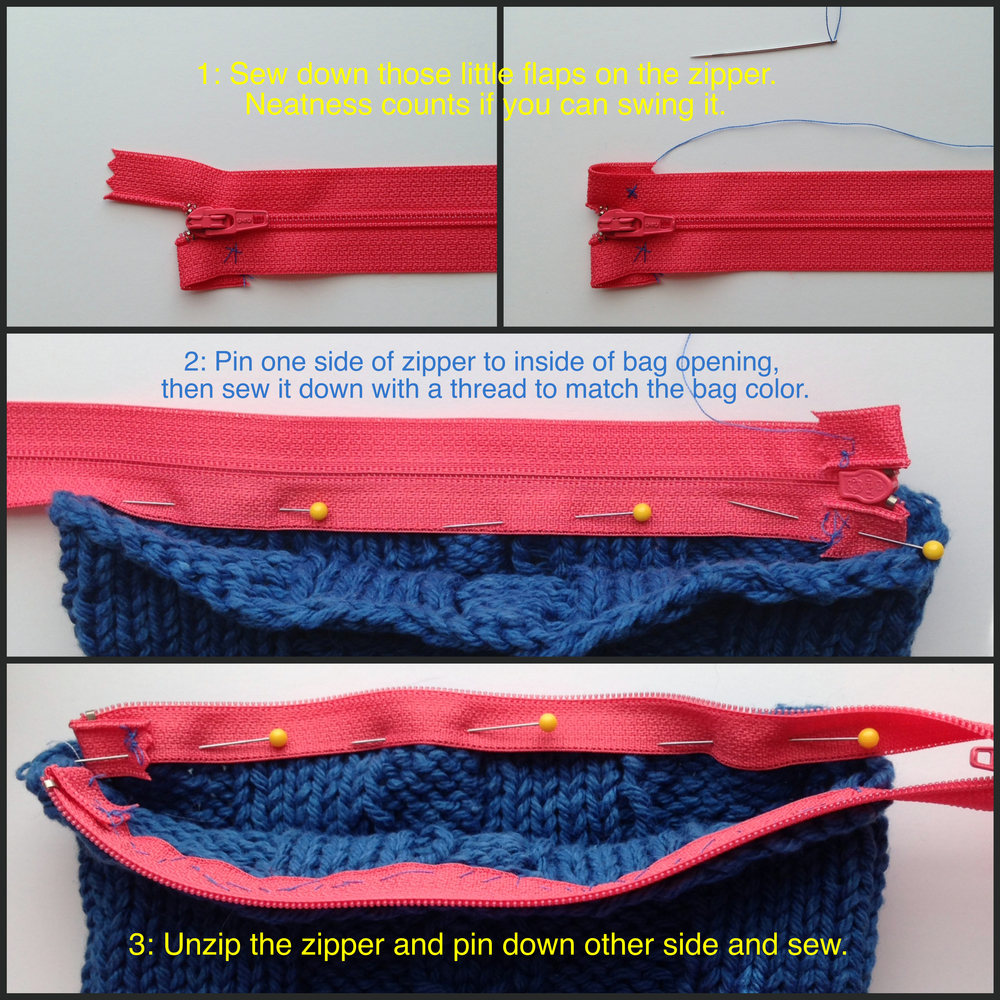 Tutorial: Add a Zipper and Lining to Your Knitted Bag — KnitOasis