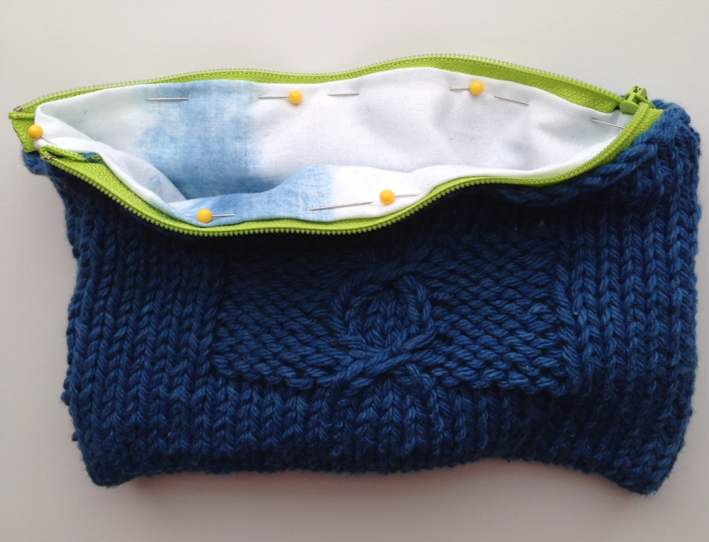 Knitting Zipper Tutorial : Tutorial add a zipper and lining to your knitted bag