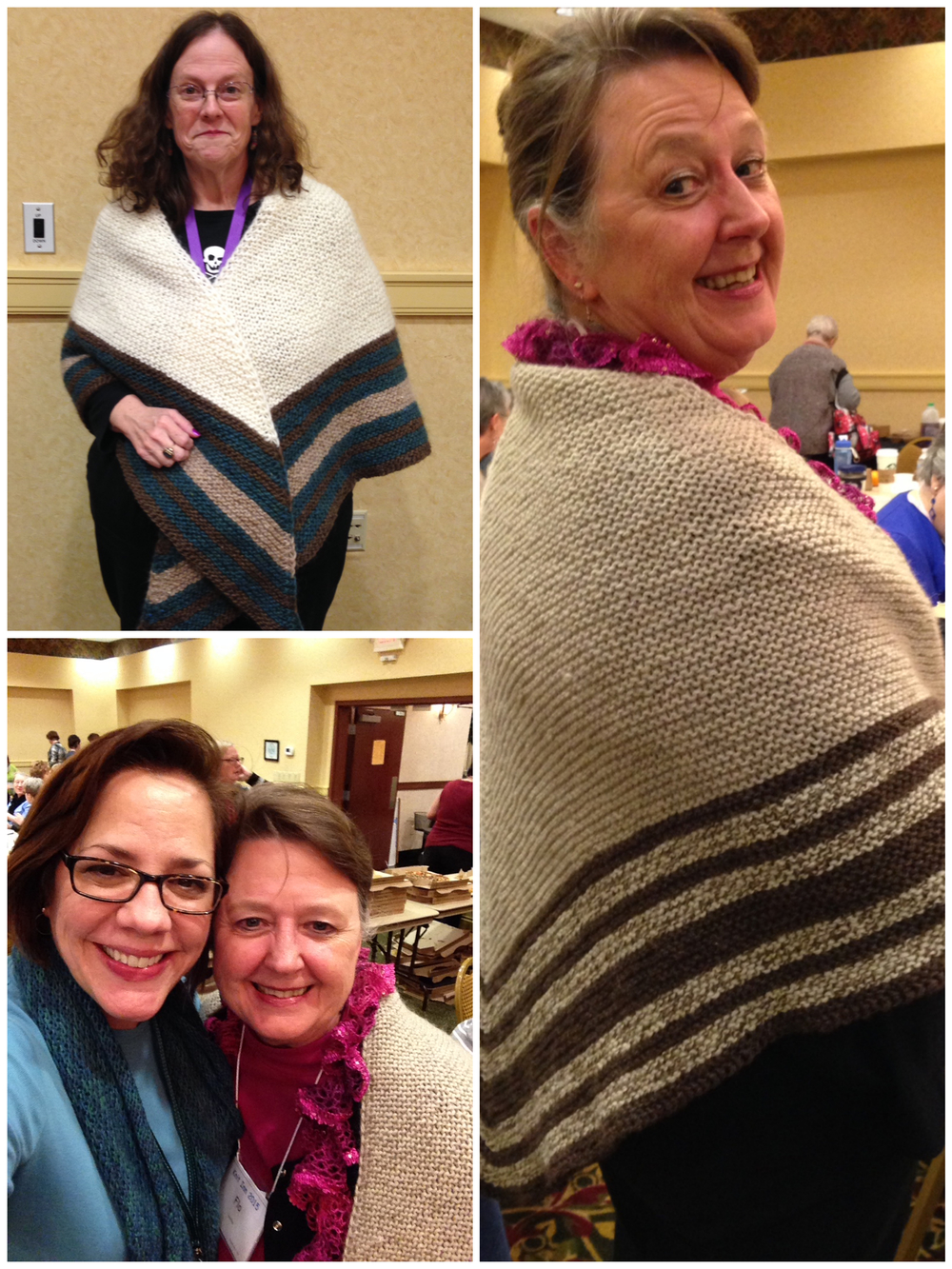 Debra (top left) and Flo with their Vintage Winter Shawls