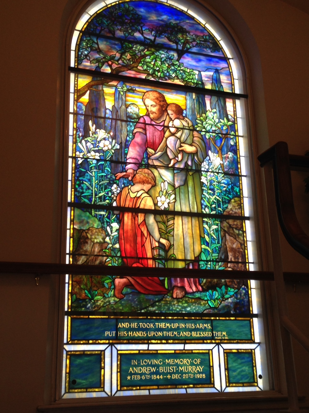 This lovely Tiffany window had been in the original building.