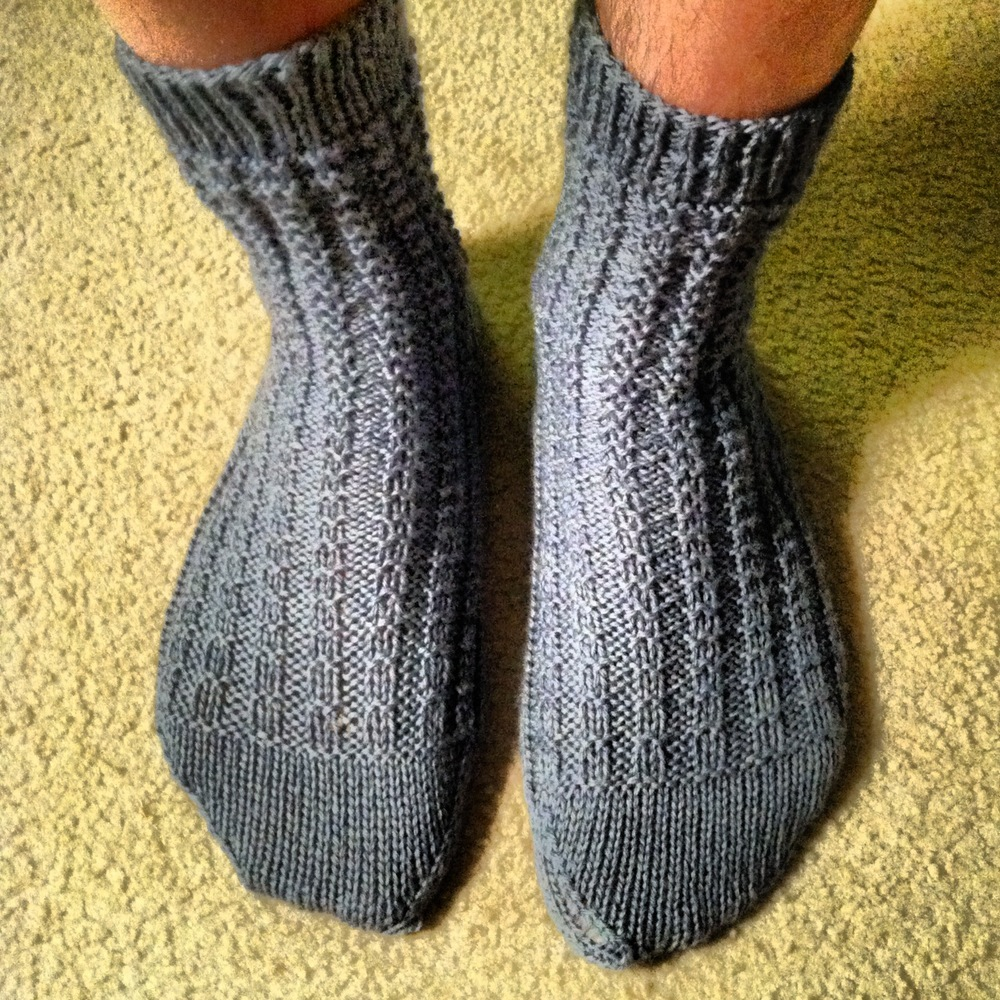 My first written sock pattern, (Mostly) Ridge Rib Socks, available  FREE.