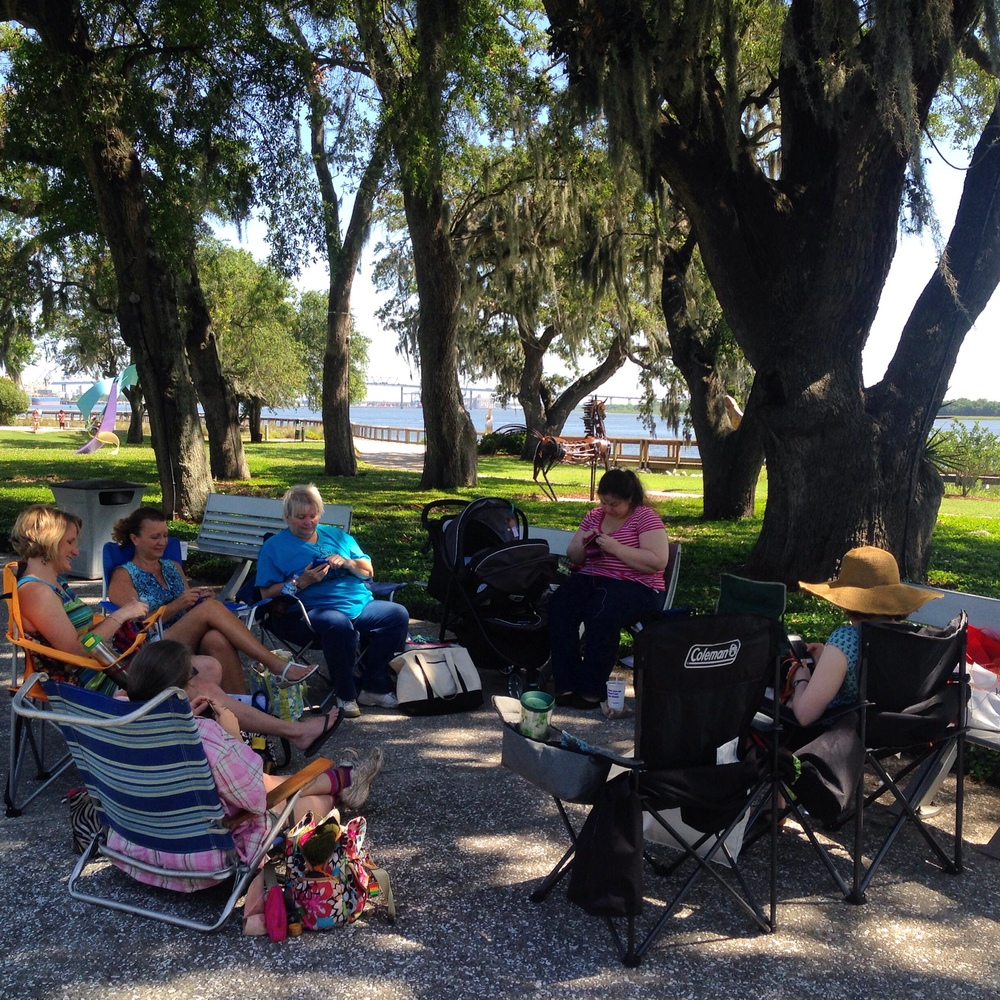 Knitting under the oak trees, overlooking the Cooper River.