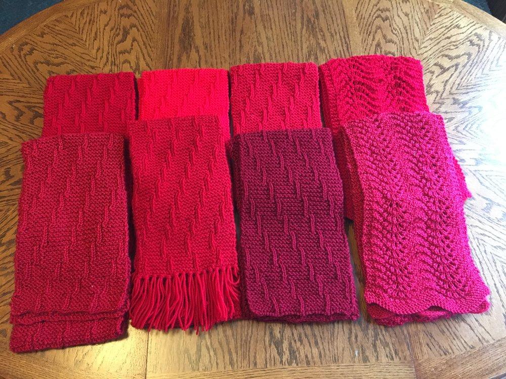 Mary Ellen Graham knitting group red scarves.JPG