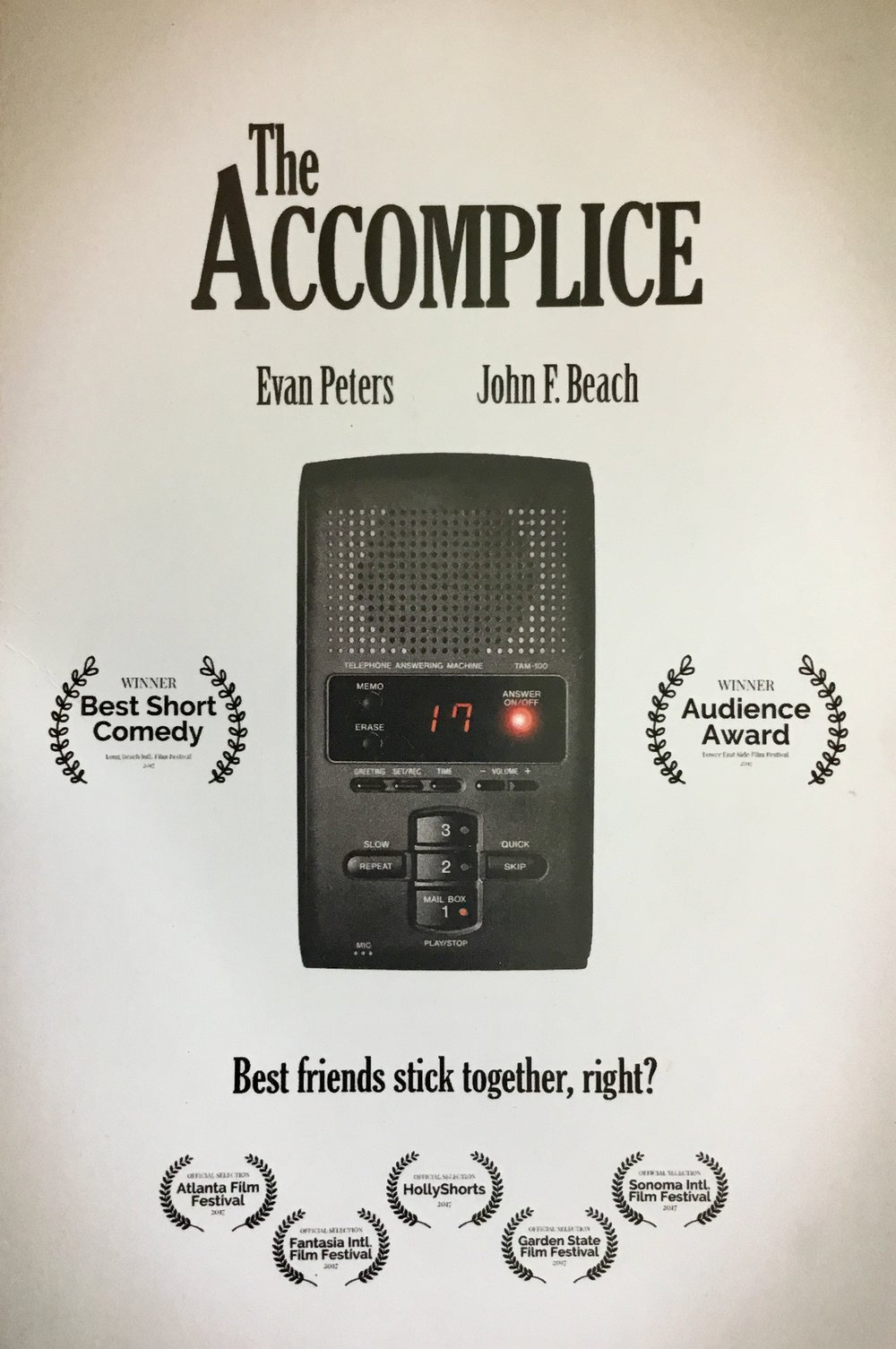 """The Accomplice"" - Dark Comedy short - (dir.) John Hoegg. Sound Design, Audio Post-Production, Location Sound, & Score by Jack Goodman. Arriving home from a long business trip, Jerry discovers a number of urgent messages on his answering machine."