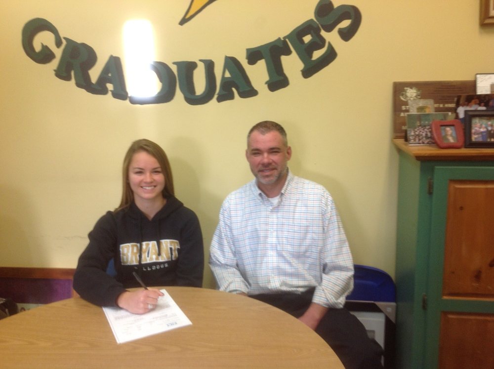 Haley Wood and her Dad Jason after her signing her letter of intent with Bryant University in Smithfield, RI for the fall of 2015!