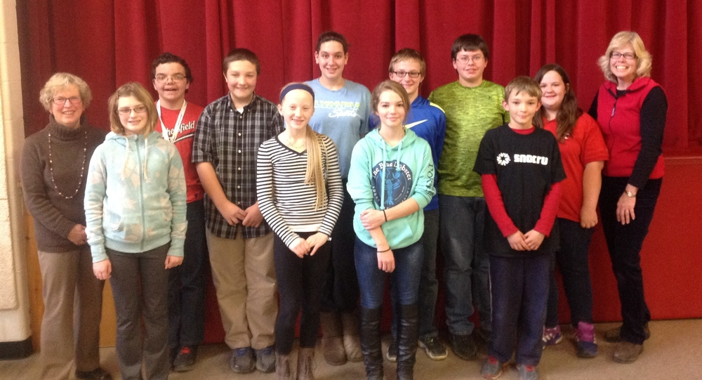 Aria Yuengling (6), Johnathan MacLachlan (7), Garrett Corliss (7), Morgan McKeen (7), Ozzie Jewett (8), Virginia Snyder (8), Conner Hart (8), Gunnar Waters (8), Zed McNaughton (5), and Jasmine Martens (7) competed in a school-wide Geography Bee on Thursday, December 10th, 2015.