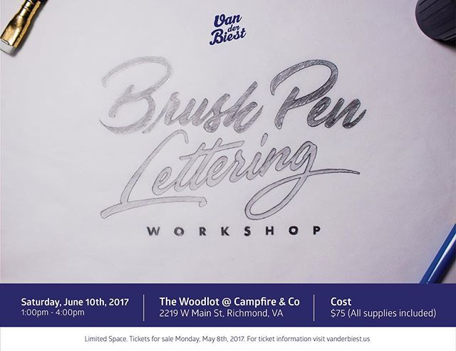 On Monday, May 8th you will be able to purchase tickets for the Brush Pen Lettering Workshop I will be hosting in Richmond, VA. Make sure you stop by my website to find out more about it. Link is on bio.