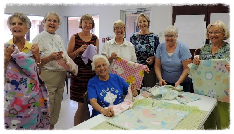 Peace Crafters, making blankets for preemies at SMH (Summer 2014)