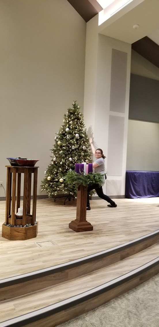 Decorating the church for Advent