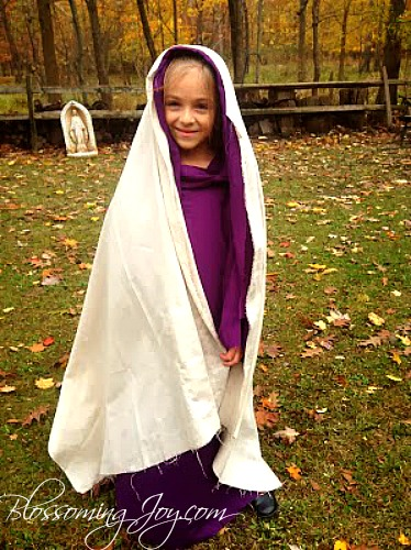 Diy st veronica costume all saints day blossoming joy when searching for veil ideas for st veronica i kept coming across children holding small pieces of fabric bearing our lords image solutioingenieria Gallery