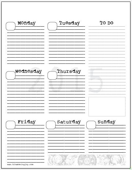 weekly planner template 2015