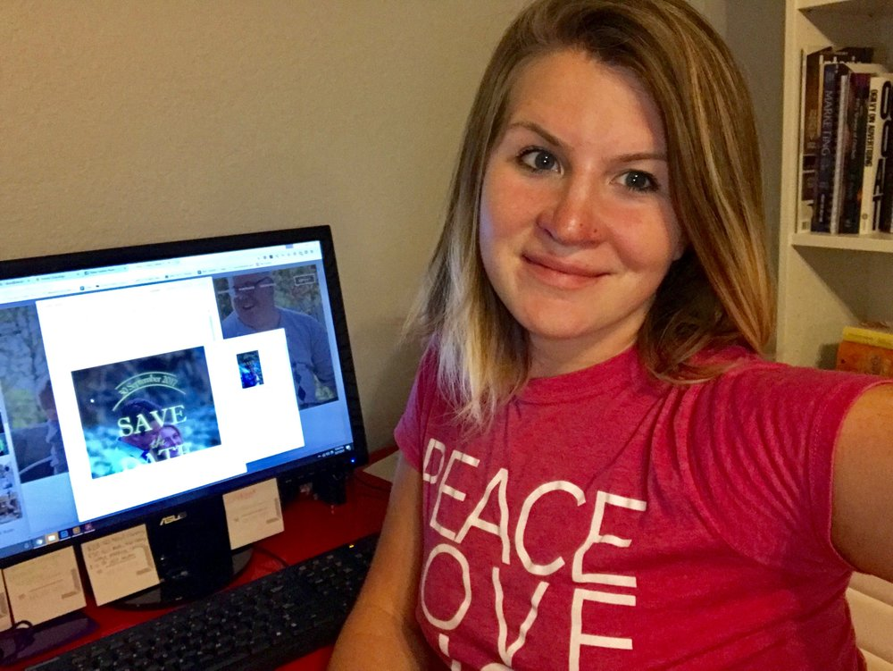 """Peace, Love and Gigs"" is what my shirt says. I snagged it at #WeddingWire World 2014, and it's just really comfortable to wear around the house."