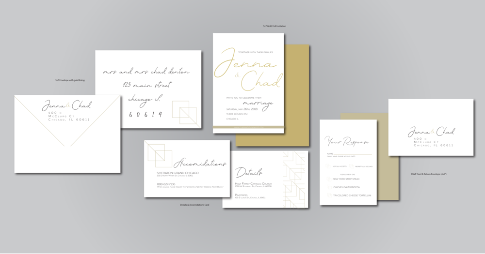 Set #1- Gold Foil  on smooth matte paper. Velum between the pieces is a nice, modern touch!