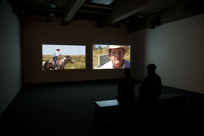 Movie Mountain (Méliès) installation view  2 Channel Synchronized High-Definition video with Sound Duration: 24 min., Loop Photo by Jean Vong Courtesy the artists and Tanya Bonakdar Gallery, New York