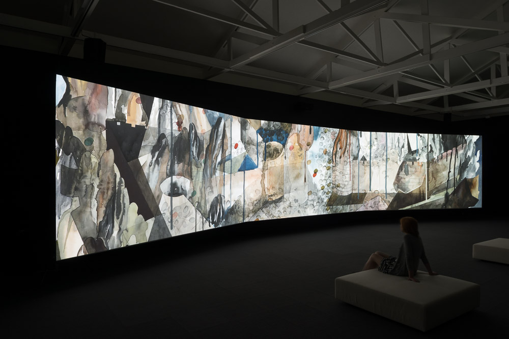 Shahzia Sikander, Parallax, 2013.3-Channel HD Animation, 24p with 5.1    Surround Sound, 15:30 minutes. Copyright the artist, courtesy of the Linda Pace Foundation. Photographer Mark Menjivar