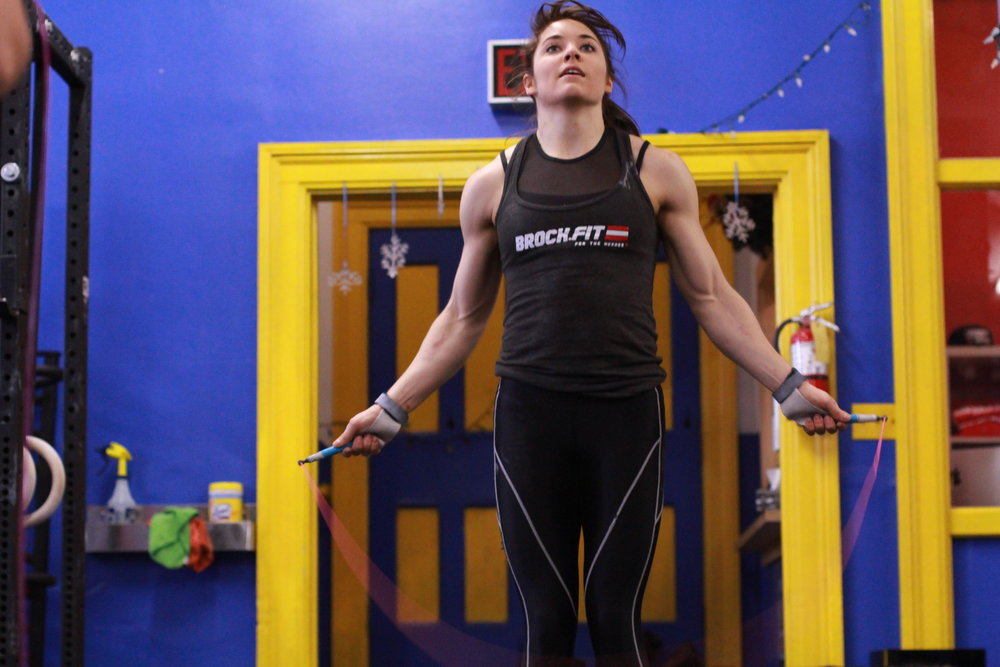 double unders  Singles, or scale back the total number of double-unders  8kg (17lb) kettlebell swings for half the amount of double-under reps  Assault Bike 15 seconds for 15 double-unders