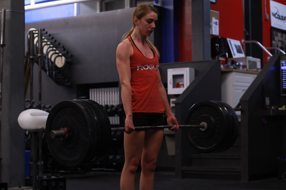 deadlift  Scale load  Use sumo stance once belly begins to interfere with thighs