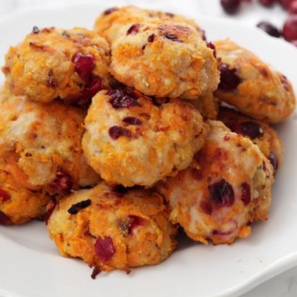 Cranberry Sweet Potato Turkey Poppers