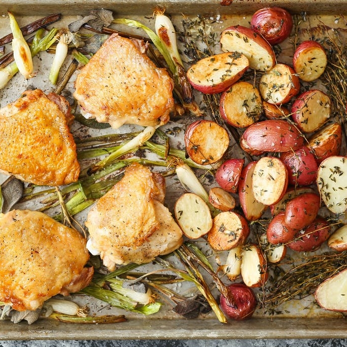 Sheet Pan Chicken with Red Potatoes and Sage
