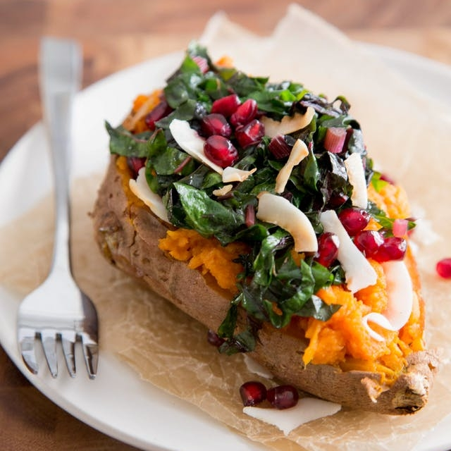 Coconut & Rainbow Chard Baked Sweet Potato