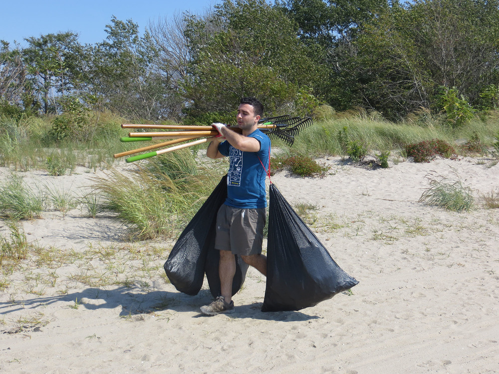 Volunteers remove 44 bags of debris during the Annual NY State Beach Cleanup Day.