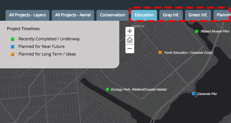Projects fall under one or more categories. You can sort projects by category by clicking on the tabs above the map.