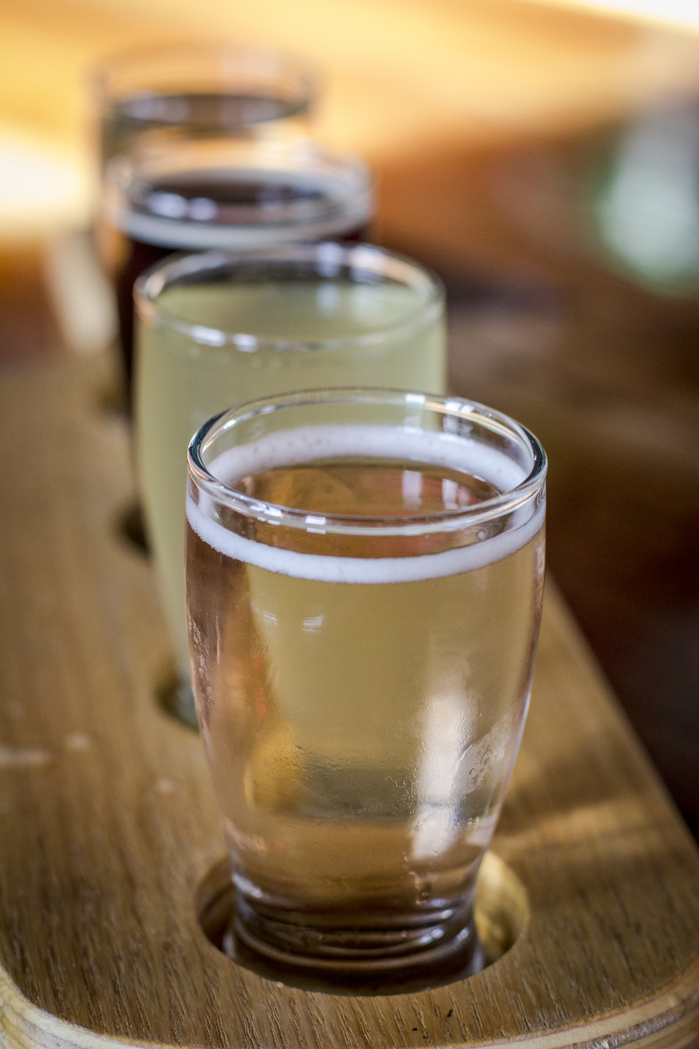 Cider flight stare down. Front and center is Freewheeler, Sociable's signature cider that tastes like an apple Champagne.
