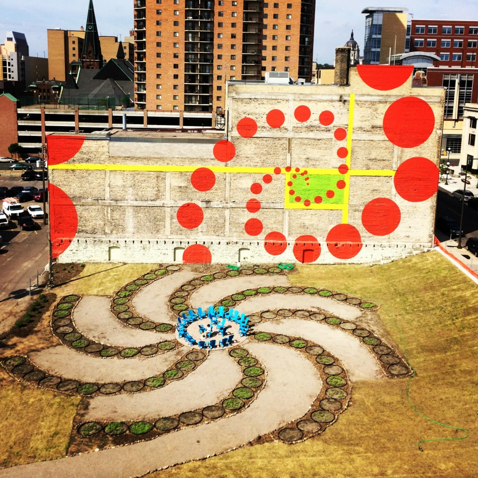 An aerial view of Urban Flower Field in downtown St. Paul after Ecological Gardens' initial install of soil remediation garden beds.   Photo provided by Ecological Gardens