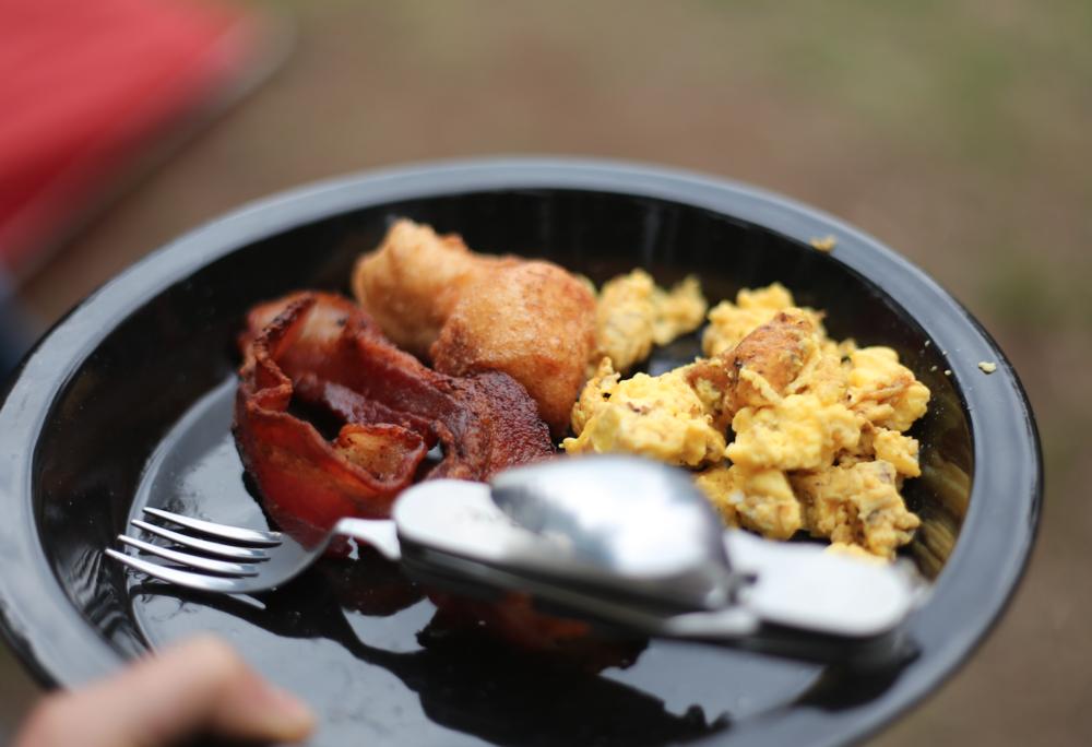 bacon, eggs and campfire doughnuts