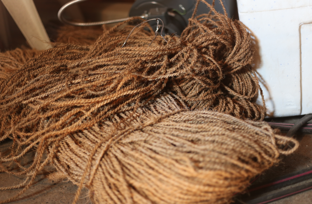 Hop twine or Coir Yarn, a waste product from coconut husk.
