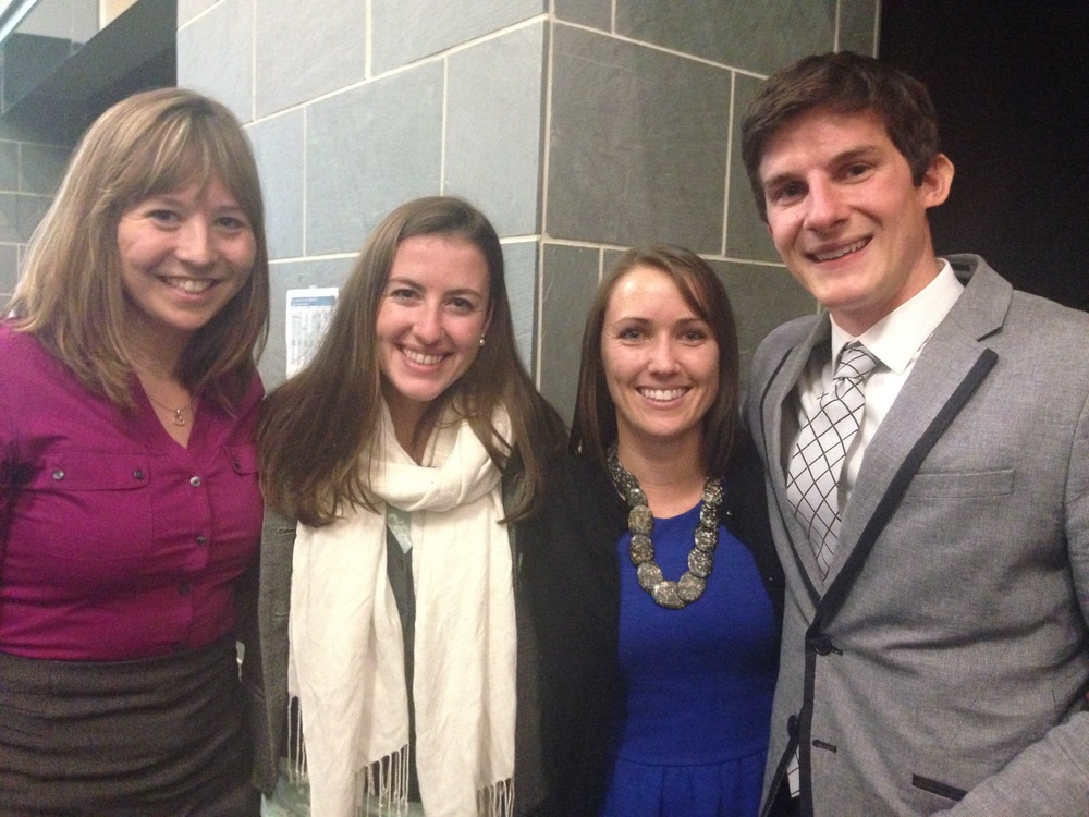 The winners of the Pitch:90 competition from the College of Earth, Ocean & Environment from the Lewes campus. (From left to right: Molly Reichert, Corie Charpentier, Megan Cimino and Adam Wickline.)