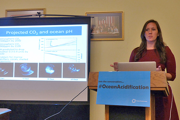 Dr. Dixson speaking at the White House about ocean acidification. Photo courtesy of UDaily.