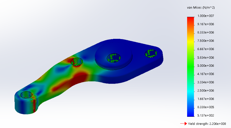 Figure 10. Steering Arm FEA analysis heat map results given maximum realistic loads
