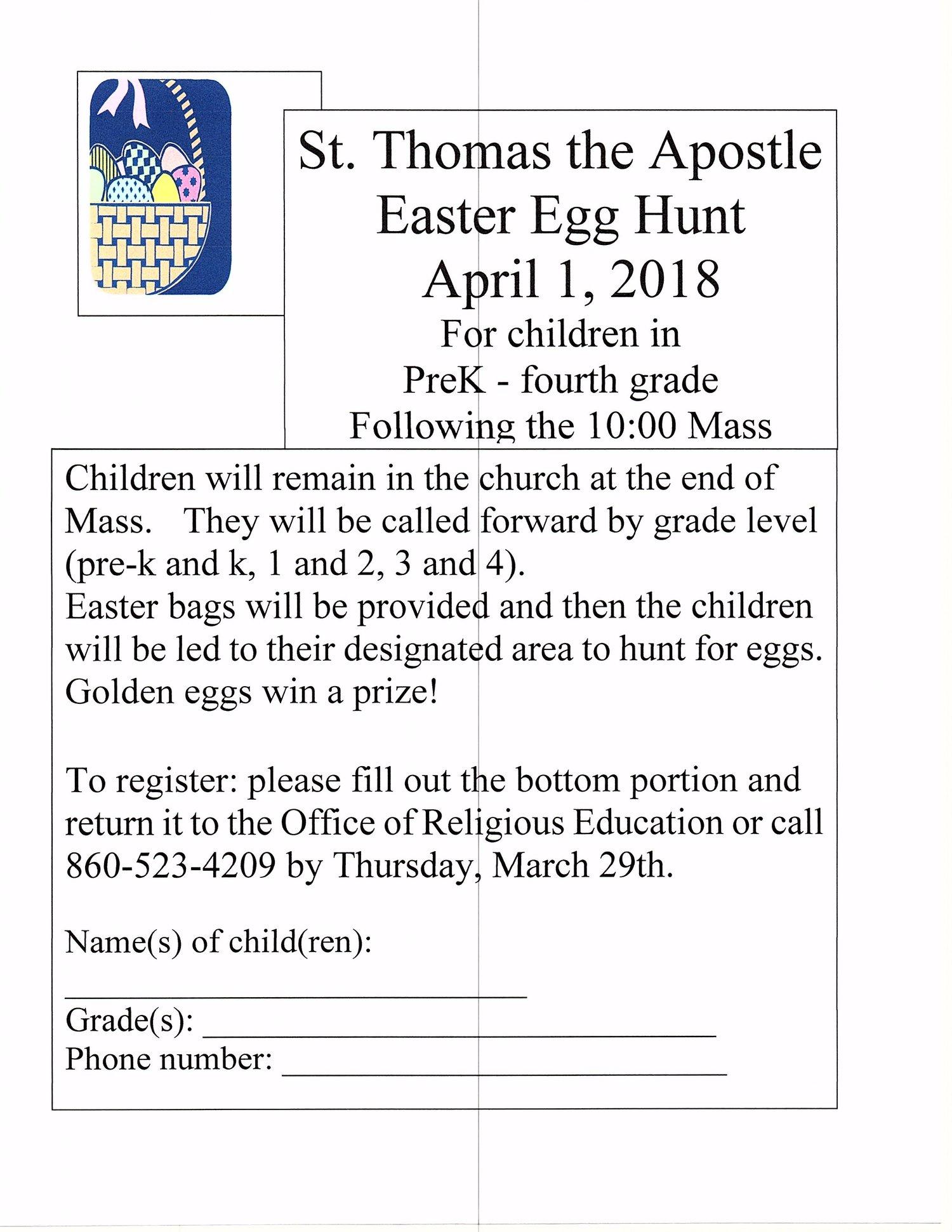 Easter Egg Hunt Registration Deadline — St  Thomas the