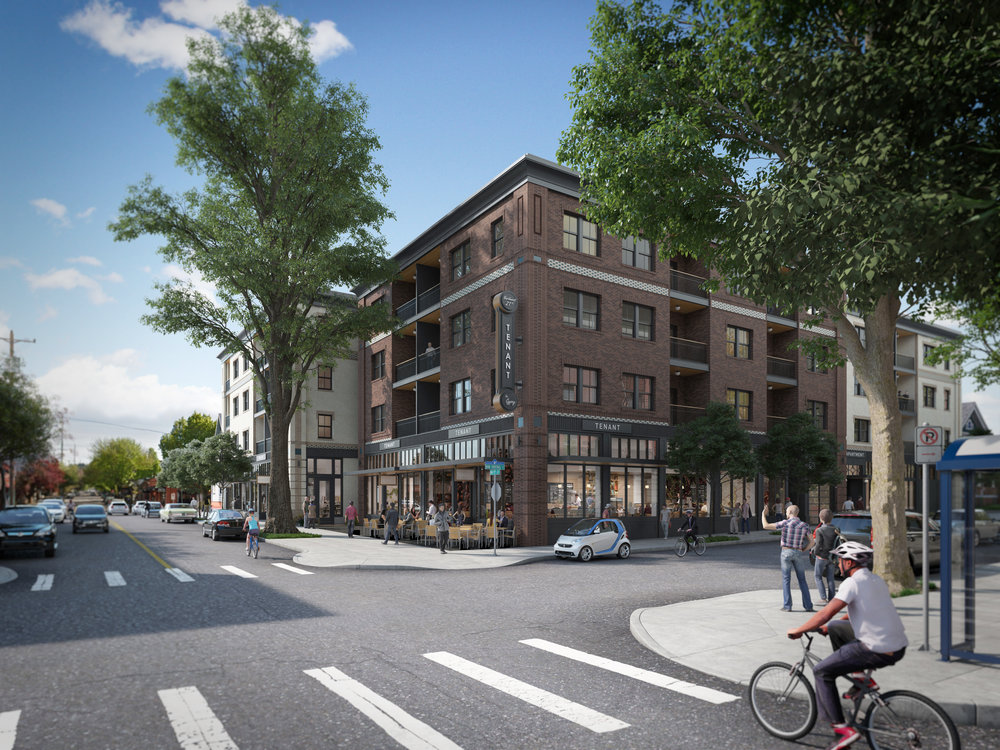 Rendering of NW 21st and Irving: mixed-use new construction project under development in Northwest Portland