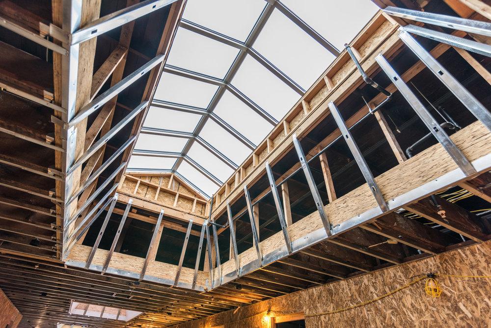 December 2017 Progress Photo of Second Floor Roof / Skylight