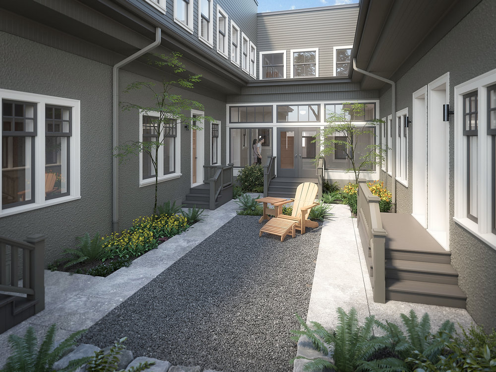 Rendering of One of Two of Fairmount's Courtyards