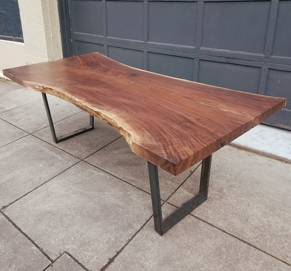 "DARK WALNUT SINGLE SLAB TABLE   106.5""x 45-51""x 30.5"""