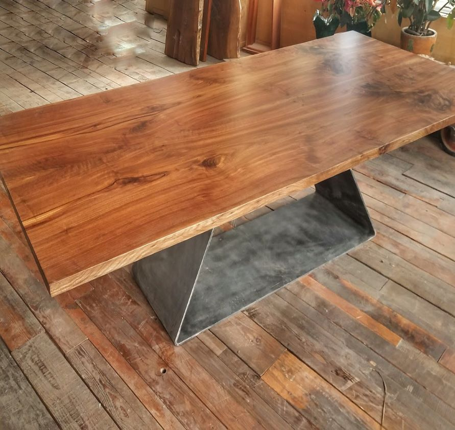"DARK WALNUT BOOKMATCH w/ ARROWGLASS BASE TABLE   96""x 44.5"""